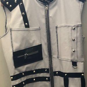 Men's White Jean and Black Vinyl Vest